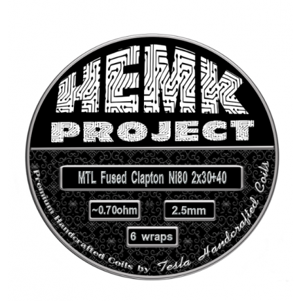 HEMK PROJECT PREMADE COILS FUSED CLAPTON MTL 0.7OHM / 0.75OHM NI80 BY TESLA HANDCRAFTED COIL